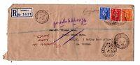 GB KGVI 1943 Registered Cover 1d + 2d 2 1/2d Durham Gone Away OK40