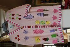 The Quacker Factory Pink Cardigan Sweater applique Popsicles Ice Cream M (bin119