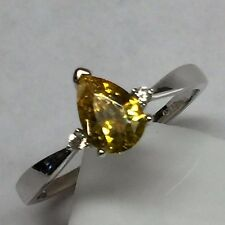 Gorgeous 1ct Yellow White Sapphire 925 Solid Sterling Silver Solitaire Ring sz 6