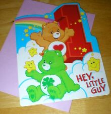 "Care Bears Birthday Card w/Envelope - for 1 Year Old - ""Hey Little Guy"" - Unused"