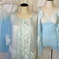 Vtg 3 pc Set Vanity Fair White Chiffon Nightgown Bodysuit Peignoir Blue Romper M