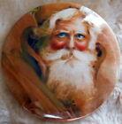 "Nostalgic 3"" Celluloid Santa Claus Pinback, Very Colorful, Piercing Blue Eyes"