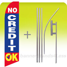 No Credit Ok Swooper Flag Kit Feather Flutter Banner Sign 15' Tall - bb