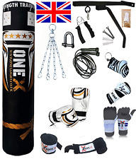 5ft Filled Heavy Punch Bag Professional Speed Set,Chains,Bracket,Gloves,Mma New