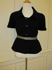 VINTAGE BALENCIAGA BLACK WITH SILVER TRIM SHORT SLEEVE JACKET (SIZE 36)