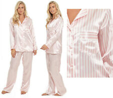 Satin Pyjamas Candy Stripe Ladies Womens Pink PJs Silk Feel Summer Nightwear