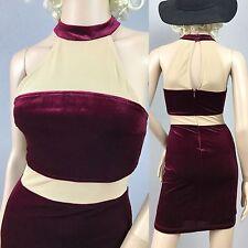Sz XS/S Burgundy Stretch Velvet Nude Mesh Bodycon Bandage Mini Dress