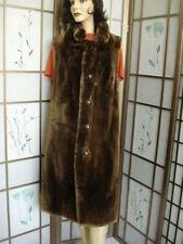 ! MINT BROWN SHEARED ARCTIC BEAVER FUR LONG VEST JACKET WOMEN WOMAN SZ10-12LARGE