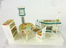 Dollhouse Miniature Artisan Quarter Scale 1:48 Dining & Desk Set, Blue