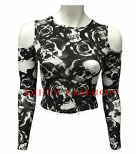 Long Sleeve Regular Size Skull T-Shirts for Women
