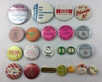 Lot of 22 Vintage Pinback Buttons Tin Ceramic