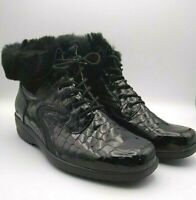 WALDLAUFER Size 6 BLACK Patent LEATHER CROC Skin Effect FUR LINED BOOTS £140 RRP