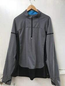 Champion Size Large Semi Fitted Pullover 1/4 Zip Jacket Gray Black Thumb Holes