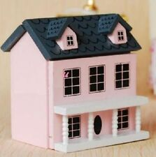 1:12 Dollhouse Miniature Kid Toy Pink Wood Dollhouse Miniature Can Open Door