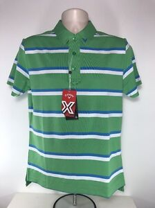 Callaway Opti Stretch Polo Shirt, Size Small, Green / Lt Blue / White, BNWT