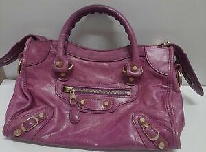 Auth Balenciaga  Mini City Shoulder  Handbag Lambskin Leather Pink