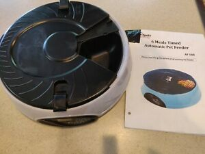 QPets Automatic Cat Dog Pet Bowl Feeder Timed 6 Meal Voice Recorder portable