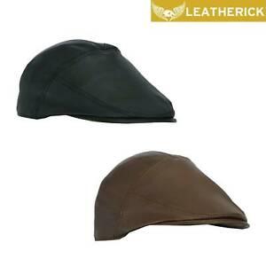 Mens Genuine Leather Flat Cap Cabbie Gatsby Baker Boy Beret Golf Newsboy Ivy Cap