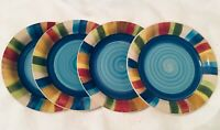 "Set Of 4 — Carmelita Stripes By Gibson 7-1/2"" Salad Dessert Plates"
