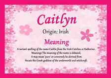 Caitlyn Personalised Name Meaning Certificate