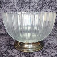 FINE CRYSTAL LARGE SERVING BOWL SILVER PLATE BASE MADE IN ITALY GODINGER