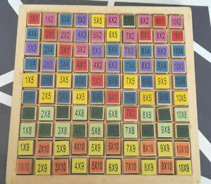 Table de calcul avec cubes en bois multiplications