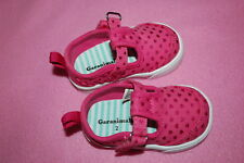c4167375303 Baby Toddler Girls Shoes PINK CANVAS w  HEARTS Easy Fasten Strap SIZE 2