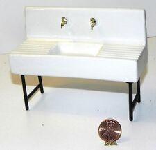 Dollhouse Miniature Kitchen Vintage Style Sink Black Legs Porcelain Minis 1:12