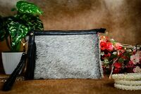 Real Cowhide Leather Wristlet Cowhide Hair on Pouch Gray Clutch Gift For Her