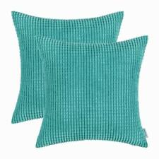 2pcs Square Cushion Cover Pillow Shell Turquoise Corduroy Corn Striped Home 45cm