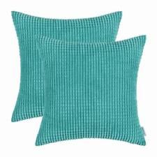 2pcs Cushions Covers Pillows Shell Corduroy Corn Striped 45x45cm Turquoise
