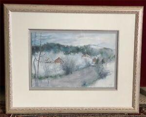 Original Watercolor Painting Bernard Gantner (b. 1928) Landscape Snowy River