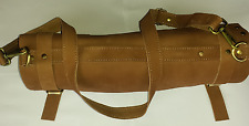 Real Pure Vintage Tan Leather Chef Knives Pouch / Case/Roll 8 Pockets Bag