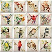 Bird Tree Home Decor Cotton Linen Pillow Case Cushion Cover Waist Cover