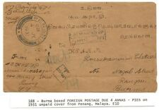 Straits Sett Penang T/CENTIMES postage due mark on 1931 cover to Burma