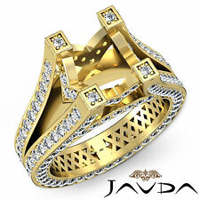 Natural Pave Set Diamond Engagement Ring 14k Yellow Gold Emerald Semi Mount 2.2C