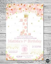 1ST BIRTHDAY PRINCESS INVITATION INVITE FIRST INVITE GIRL FLORAL FLOWERS GOLD