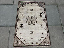 Old Traditional Hand Made Persian Oriental Gabbeh Rug Wool Grey 110x75cm