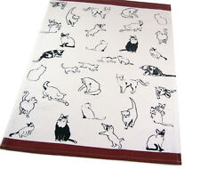 Cat Kitchen Towel | Cotton | Ivory Black Brown | Free US Shipping!