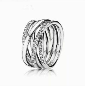Pandora Authentic Entwined Sterling Silver Ring , Entwining Ring - Pick Size