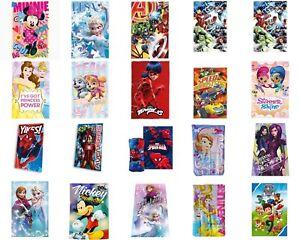 NEW Kids Girls Boys Disney & Marvel Characters Bed Fleece Blanket Throw