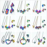 2019 Fashion Teddy Bear Jewelry Set Women Multicolor Gold 18k Necklace Earrings