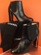 77c1cd239302 17b CHANEL G31660 Black Leather Elastic Gold Tone Heel Logo Ankle BOOTS 41