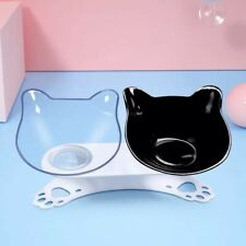 Cute Cartoon 15° Tilted Double Bowl w/Raised Stand Cat Dog Pet Food Water Feeder
