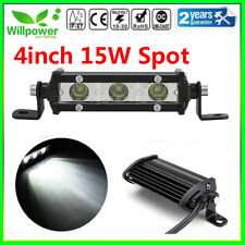 4inch 15W Spot Beam Slim LED Work Light Bar Single Row Car SUV Off road Truck