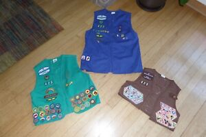 Vintage 1990s Girl Scout Vest Blue Brownie Badges and Patches Lot