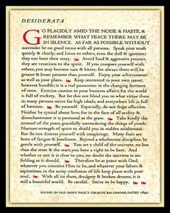 DESIDERATA GO PLACIDLY AMID THE HASTE AND THE NOISE POEM METAL PLAQUE SIGN R10