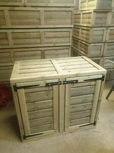 Wheelie Bin Storage Wooden Unit Outdoor Wooden Timber Dustbin Cover Shed