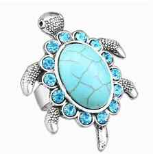 NEW Beautiful Silver Tone Turquoise & Diamante Sea Turtle Ring, UK Seller