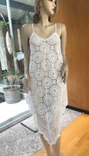 Lim'S Vintage Cotton Hand Crochet V-Shape Midi Dress Color White
